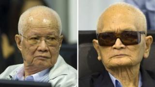 Khieu Samphan (trái) và Nuon Chea đều đang thụ án chung thân vì các tội danh khác
