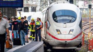 A train that hit a boy who was pushed at Frankfurt station