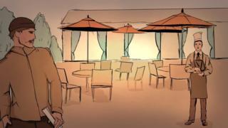 Рисунок - официант и человек со свертком бумаги