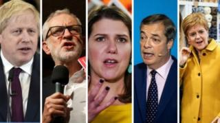 Boris Johnson, Jeremy Corbyn, Jo Swinson, Nigel Farage ve Nicola Sturgeon