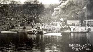 Boat stage at the south end of Rudyard Lake, 1905