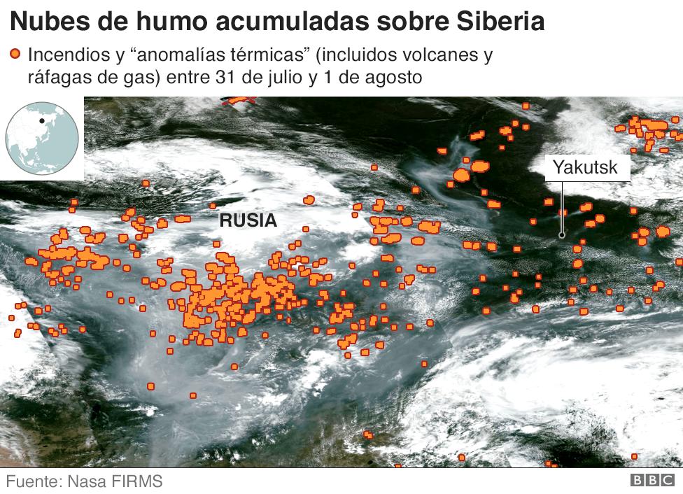Imagen satelital de las nubes de humo sobre Rusia