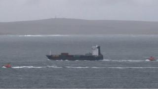 Cargo ship Leah and the lifeboats from Wick and Thurso