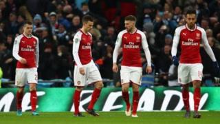 'Yan wasan Arsenal bayan da Man City ta doke su 3-0 a wasan karshe na kofin(Carabao) League