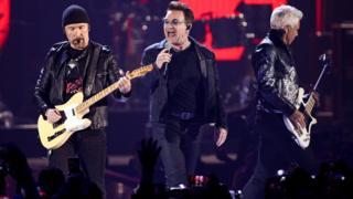 U2 performing at the iHeartRadio Music Festival in Las Vegas