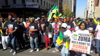 Protesters during a march in Johannesburg