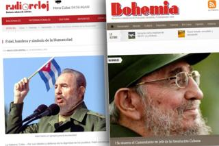 Screengrabs from Cuban news websites