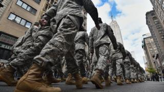 US soldiers march during Veterans Day Parade in New York on November 11, 2014