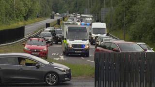 Ambulance and traffic queue