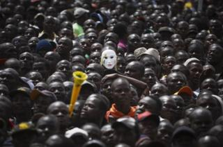 Supporters of the Kenyan opposition National Super Alliance and its leader Raila Odinga gather to listen to speeches.