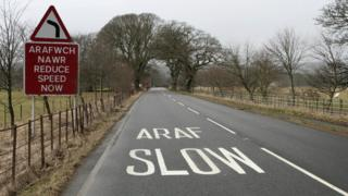 picture of a road with a welsh slow down sign