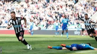 Matt Ritchie amefunga bao lake la tatu katika ligi ya England msimu huu dhidi ya Arsenal