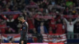 Arsenal's French forward Alexandre Lacazette stands on the field during the UEFA Europa League semi-final second leg football match between Club Atletico de Madrid and Arsenal FC at the Wanda Metropolitano stadium in Madrid on May 3, 2018