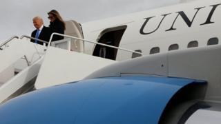 Trump y Melania en la Base de la Fuerza Aérea Andrews.