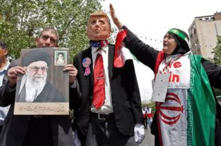 An effigy of Mr Trump seen at a May 2019 rally in Tehran
