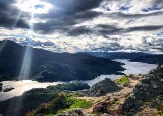 From the top of Ben A'an. The sunshine sneaking through the clouds made it even more mystical, says Niall Fraser from Giffnock