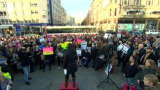 Crowds gather outside Belfast City Hall on Saturday