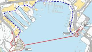 Route of proposed Cardiff Bay zip-wire attraction