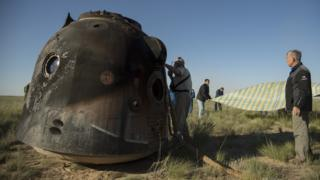 The blackened Soyuz capsule. 3 June 2018