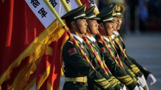 Paramilitary policemen prepare for the World War Two commemorations in Beijing