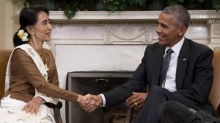 State Counsellor Aung San Suu Kyi of Burma (L) shakes hands with US President Barack Obama during a bilateral meeting at the White House in Washington, DC, September 14, 2016