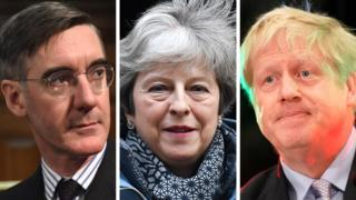 Jacob Rees-Mogg, Theresa May and Boris Johnson