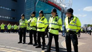 Police outside Old Trafford