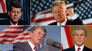 A composite image showing John F Kennedy, Bill Clinton, George W Bush and Ronald Reagan