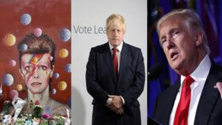 David Bowie memorial, Boris Johnson at a leave campaign function, Donald Trump on election night