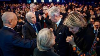 (From L) Founder and Executive Chairman of the World Economic Forum Klaus Schwab, Swiss President Ueli Maurer, Hilde Schwab, King Philippe of Belgium and Queen Mathilde attends opening ceremony of the World Economic Forum (WEF) annual meeting, on January 22, 2019 in Davos, eastern Switzerland.
