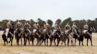 Horse riders take part in the Festival of Oasis of Tozeur in Tunisia - Tuesday 17 January 2017