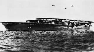 Kaga aircraft carrier, depicted in the 1940s