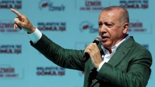Erdogan during a rally in Izmir, 17 March