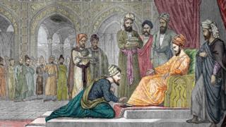لوحة تحاكي استقبال أمير أصفهان لابن سينا في بلاد الفرس