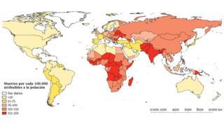 Mapa mundial de muertes atribuibles a la polución de acuerdo a un estudio de la revista científica The Lancet.