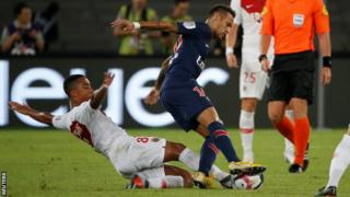 Neymar in action against Monaco in the French Super Cup