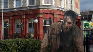 A zombie outside The Queen Vic pub