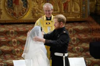 Prince Harry and Meghan Markle in St George's Chapel at Windsor Castle during their wedding service