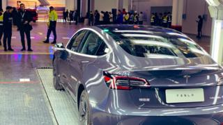 One of the first China-made Teslas leaves the factory