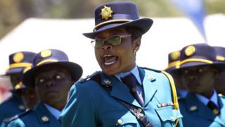 A female police officer during a passing out parade in Harare, Zimbabwe - Thursday 15 November 2018