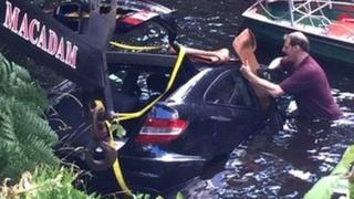 The car was fully submerged in the River Nidd and was pulled out some time later