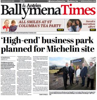 Ballymena Times front page