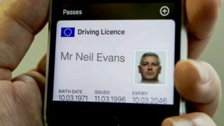 Photo of a driver's licence for Mr Neil Evans displayed in Apple's passbook.
