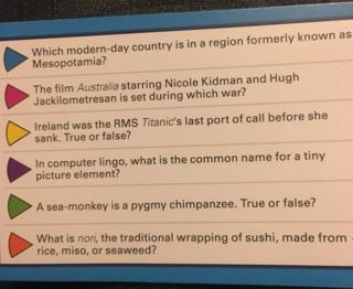 Trivial Pursuit question card