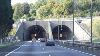 The entrance to the westbound Brynglas Tunnels