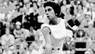 Brazilian tennis player Maria Bueno in action during a championship match