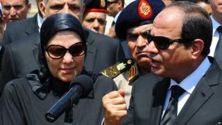 Abdul Fattah al-Sisi addresses the funeral of public prosecutor Hisham Barakat in Cairo (30 June 2015)