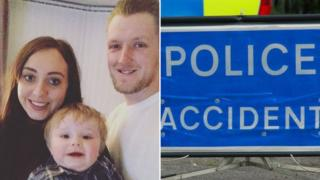 John Coles with partner Emily Thomas and son Rory, and generic police sign