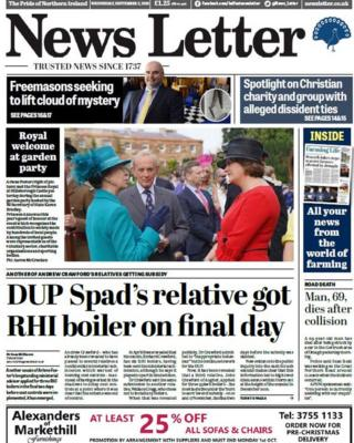 News Letter front page Wednesday 05 September