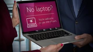 Banners shows laptop loan service by Qatar Airways